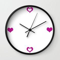 Heart Clock - Wall Clock - Magenta Purple Clock - Love Clock - Made to Order (60.00 USD) by ShelleysCrochetOle