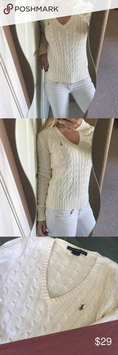 Ralph Lauren Sport Cream Cable Knit Sweater Classy and comfortable Ralph Lauren v-neck cable knit sweater! Cream colored, long sleeves, 100% cotton. Signature polo logo on left side. In excellent condition! Great sweater staple for any woman's closet. ❤️ Ralph Lauren Sweaters V-Necks