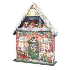 """Spieluhr Adventskalender aus papiertem Holz. Das Haus ist mit hochwertig bedrucktem Papier beklebt. Wenn man eines der 24 Türchen öffnet, und die Sensoren in den Fächern genug Licht bekommen, erklingt die Melodie """"We wish you a Merry Christmas"""""""