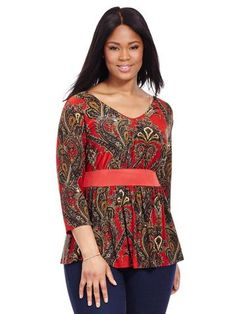 Love the red and paisley print, soft fabric and v neck