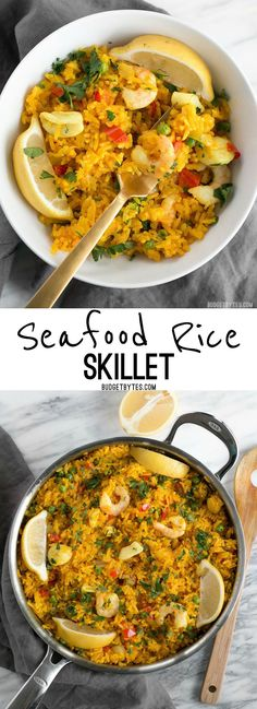 Seafood Rice Skillet is a nod to seafood paella using easy to find ingredients and equipment. Impress your dinner guests with this easy and impressive dish! BudgetBytes.com