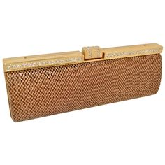 Mimi  Thomas Glitter Bronze  Gold Crystal Diamonte Baguette Style Evening Clutch Bags with Dust Bag  Gift Box