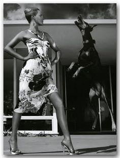 Vogue Italia, 2005 #Doberman and a girl