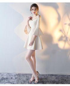 277a09f90df5 Solid Color Short Evening Dress Off Shoulder Banquet Bridesmaid Dress  Elegant Slim Dress