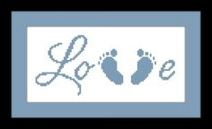 Baby Feet Cross Stitch Pattern LOVE - PDF File - Instant Download - X Stitch Pattern, Embroidery, Baby Pattern