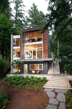 Modern Home Design. Modern Home Design With Splashes of Personality: Dorsey Residence Modern Exterior, Exterior Design, Architecture Design, Beautiful Architecture, Casas Containers, Bungalows, House In The Woods, Modern House Design, Funky Design