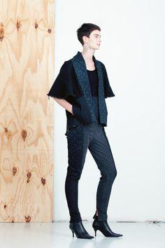 """Kape"" printed denim kimono jacket, MEM by Paula Malleus"