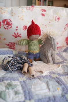 Waldorf ~ 2nd grade ~ Handwork ~ Samples ~ Knitted Gnome with Crocheted Cap ~ Knitted Horse ~ Butterfly Stitch Jump Rope ~ Crocheted Washcloth