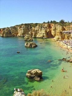 Sheltered between cliffs, the sands of Dona Ana Beach and their calm and clear waters are one of the highest profile landmarks on the Algarve. This is a good spot for diving and observing the beautiful sea fauna and flora.  Algarve, Portugal.