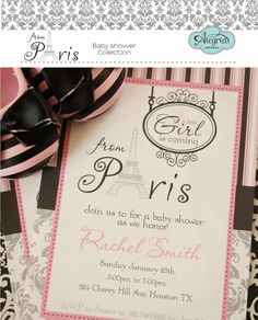 Invitation from the Paris Baby Shower Collection