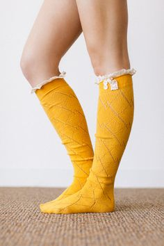 Women's Long Over The Knee Boot Socks with Open Knit, Crochet Lace Trim and Buttons for Stocking Stuffers in Mustard BS-12