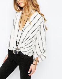 Image 3 - Free People - Blouse à manches kimono rayées - Blanc