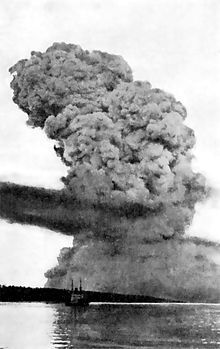 """The Halifax Explosion occurred on December 6, 1917, when the city of Halifax, Nova Scotia, Canada, was devastated by the detonation of the SS Mont-Blanc, a French cargo ship that was fully loaded with wartime explosives. The Mont-Blanc detonated after colliding with the Norwegian SS Imo in a part of Halifax Harbour called """"The Narrows"""". Until the Trinity test explosions of atomic bombs, it was the largest man-made explosion in recorded history."""