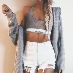 Grey CK sports bra with ripped white jeans & cardigan