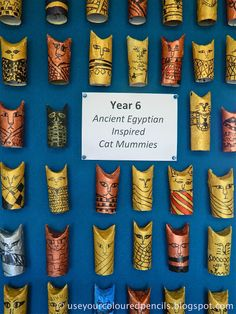 Use Your Coloured Pencils: Egyptian Cat Mummies from cardboard tubes or toilet p. - Use Your Coloured Pencils: Egyptian Cat Mummies from cardboard tubes or toilet paper tubes - Ancient Egypt Crafts, Egyptian Crafts, Egyptian Party, Egyptian Mummies, Ancient Egypt Activities, Ancient Egypt Art For Kids, Ancient Egypt Display, Ancient Egypt Lessons, Egyptian Jewelry