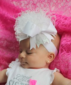 Look what I found on #zulily! andJane All White & Tints of Silver Ostrich-Puff Over the Top Hair Bow by andJane #zulilyfinds