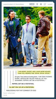 Hahaha Robert... ~ Avengers   Funny   Loki   Tom Hiddleston   Iron Man   Robert Downey Jr   Captain America   Chris Evans ~