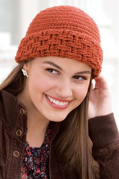 Crocheted basket weave hat