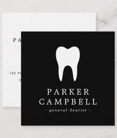 Elegant, professional business cards or personal profile cards featuring a white tooth logo and your name and title/company name printed in white on a black background on the front. On the back are customizable template fields for your name, title/company name/specialty and contact information. A minimal and classy design ideal for a dentist, dental hygienist, orthodontist etc