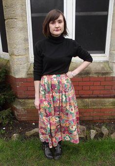 Vintage Gingham and Floral Midi Button Skirt £10 http://asos.mp/bristol-saint-vintage