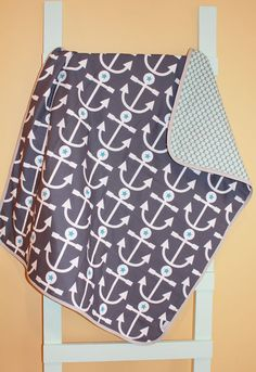 FOR ALEX in the future. Baby quilt nautical anchor navy geometric modern by PETUNIAS, $98.00