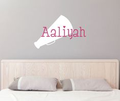 Cheerleader Name Wall Decal - Megaphone Personalized with your name and chose of colors!