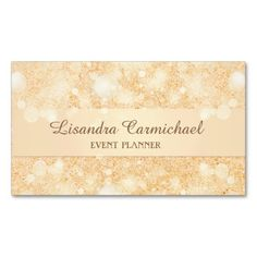 Orange ice sparkle glitter print design for the Event and Wedding Planner, #businesscards