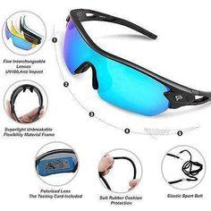 Torege Polarized Sports Sunglasses With 5 Interchangeable Lenes for Men Women