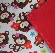 Baby Blanket Handmade Bright Monkey Flannel Blanket Baby Shower Gift Stroller Blanket