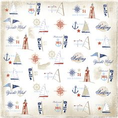 Maja Design Scrapbook Paper - Life by the Sea Sea Illustration, Illustrations, Kids Background, Paper Background, Nautical Design, Nautical Theme, Decoupage, Papel Scrapbook, Little Boy And Girl