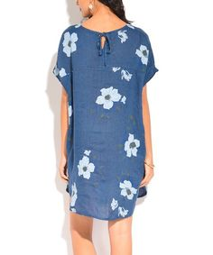e1c17d4c3f La Fille du Couturier Blue Floral Linen Notch Neck Dress - Women   Plus