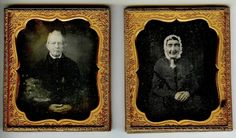 Heavy Double 1/6 Plate Daguerreotypes - Husband & Wife - Complete Case