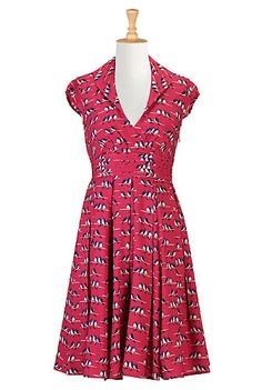 And I need this dress, too. eShakti Wired bird print dress