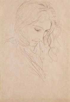 Bust of a lady looking down 1906 Gustav Klimt Line Drawing, Drawing Sketches, Painting & Drawing, Art Drawings, Sketching, Klimt Art, My Art Studio, Vintage Artwork, Art Sketchbook