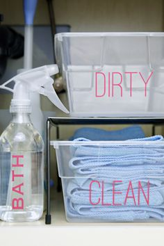 Shoe boxes for dirty and clean microfiber rags (used for bathroom cleaning days! Homemade Shower Cleaner, Cleaners Homemade, Car Cleaning Hacks, Cleaning Solutions, Cleaning Cloths, Organizing Cleaning Supplies, Cleaning Schedules, Daily Cleaning, Organising