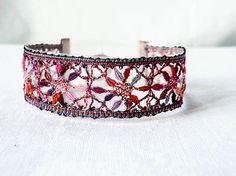 unique crafted bracelet bobbin lace bracelet black by UliBaysie