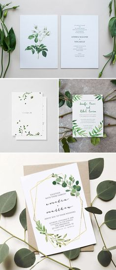 Organic inspired minimalist wedding invitations #weddinginvitation