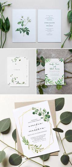 Organic inspired minimalist wedding invitations
