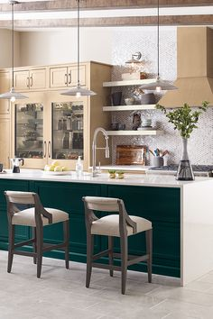On-Trend Transitional Kitchen - Kemper Cabinetry Kitchen Cabinet Colors, Kitchen Cabinetry, Kitchen Colors, Kitchen Design, Kitchen And Bath, New Kitchen, Kitchen Pantry, Kitchen Ideas, Homecrest Cabinets