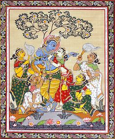 Radha Krishna with Four Gopinis - Folk Art Paintings (Orissa Pattachitra Painting on Tussar Silk - Unframed) Pichwai Paintings, Mughal Paintings, Indian Art Paintings, Watercolor Paintings, Krishna Painting, Krishna Art, Krishna Lila, Madhubani Art, Madhubani Painting