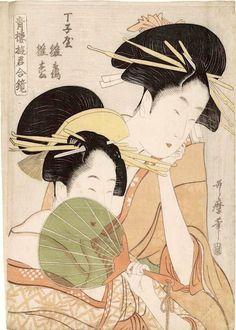 『青楼遊君合鏡』「丁子屋 雛鶴 雛松」(喜多川歌麿 画)