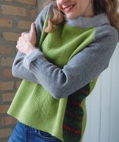 Ella sweater for women made from recycled materials, size medium, chartreuse, gray felted wool and angora