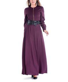 Look at this #zulilyfind! Fig Sash-Tie Zip Maxi Dress #zulilyfinds