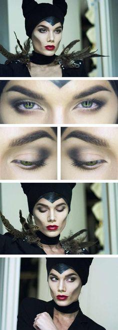 maquillage Halloween visage de sorcière étape par étape et déco plumes