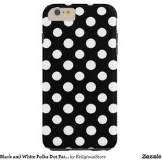 Black and White Polka Dot Pattern Tough iPhone 6 Plus Case (60 CAD) ❤ liked on Polyvore featuring accessories, tech accessories, dot and polka dot