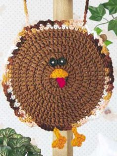 Gobble, Gobble Baby Bib free crochet pattern. Would be cute as a pot holder for thanksgiving!!!