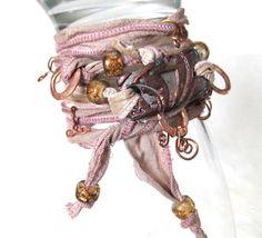Sari Silk Ribbon Wrap Bracelet Copper Raku Pottery by mmartiniuk, $56.00
