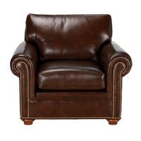 Conor Leather Chair, Omni/Brown