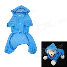 Cute Polyester + Nylon Pet Raincoat for Dog - Blue (Size 18)