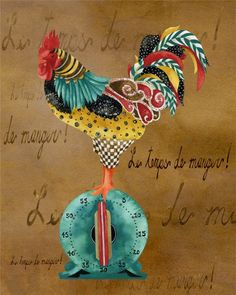 Art Print Gourmet Rooster Le Temps De by studiopetite Rooster Art, Chicken Art, Chickens And Roosters, Star Art, Decoupage Paper, Kitchen Art, Painting & Drawing, Watercolor Painting, Framed Art Prints